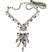 Vintage Juliana Book Piece Red and Clear Baguette Rhinestone Necklace
