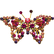 Vintage Juliana Pink, Fuchsia Purple Rhinestone Butterfly Brooch