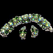 Vintage Juliana Green and AB rhinestone Florette Bracelet and Earrings Demi Parure