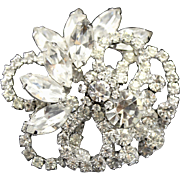 Vintage Juliana Clear Rhinestone Layered Swirling Brooch