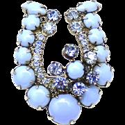 Vintage Juliana Book Piece Baby Blue Milkglass Cabochon and Rhinestone Lucky Horseshoe Brooch