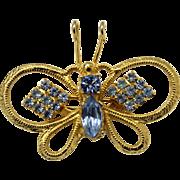 Vintage Juliana Baby Blue Rhinestone Metal Winged Butterfly Brooch