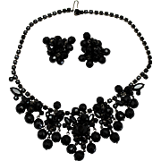 Vintage Juliana Black Rhinestone Crystal Bead Necklace Earrings Demi Parure
