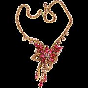 Vintage Juliana for Celebrity Book Piece Fuchsia Pink Rhinestone Necklace