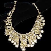 Vintage Juliana Clear Rhinestone Heart Scroll and Bezel Set Crystal Necklace