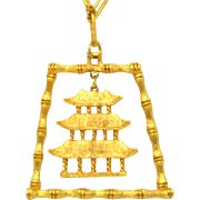 Vintage Juliana Book Piece Asian Bamboo Pagoda pendant Necklace