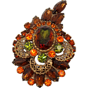 Vintage Juliana Book Piece Topaz Fall Watermelon Rhinestone Filigree Brooch
