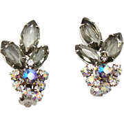 Vintage Juliana Gray (Black Diamond) and AB Rhinestone Earrings