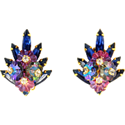 Vintage Juliana Book Piece Blue Rhinestone Margarita Flower Earrings