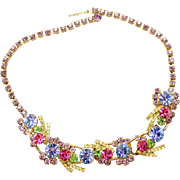 Vintage Juliana Pastel Pink Blue Yellow Lavender and Green Rhinestone Ribbon Necklace