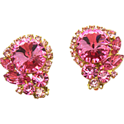 Vintage Juliana Pink Rivoli and Rhinestone Earrings