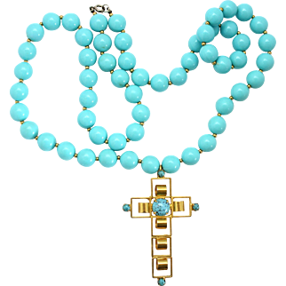 Vintage Juliana NEW FIND Faux Turquoise Cabochon Cut Tubing Cross Pendant Necklace