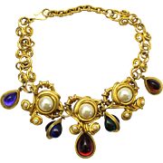 Vintage Juliana for Les Bernard Book Piece Mogul Style Rhinestone and Faux Pearl Necklace