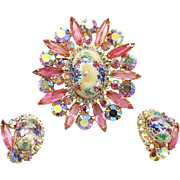 Vintage Juliana Book Piece Pink Rhinestone Stippled Cabochon Easter Egg Brooch Earrings Demi Parure