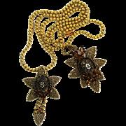 Vintage Juliana Molded Daisy Flower Cabochon, Ball Chain Filigree Topaz Rhinestone Necklace Brooch Demi Parure