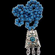Vintage Juliana Egyptian Revival Book Piece Faux Turquoise Blue Bead Cabochon Pendant Necklace