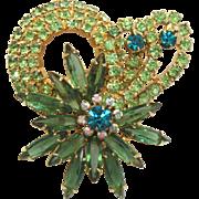 Vintage Juliana Green Teal and Peridot Rhinestone Looping Flower Brooch