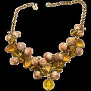 Vintage Juliana Book Piece Topaz, Peach  Rhinestone Puffy Bead Necklace