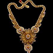 Vintage Juliana Book Piece Topaz Fancy Sunburst Rhinestone Necklace