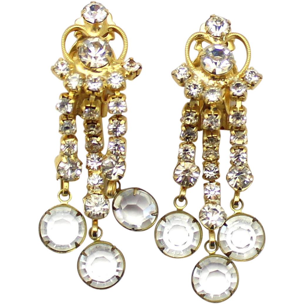 Vintage Juliana Clear Rhinestone Heart Scroll and Bezel Set Crystal Dangle Earrings