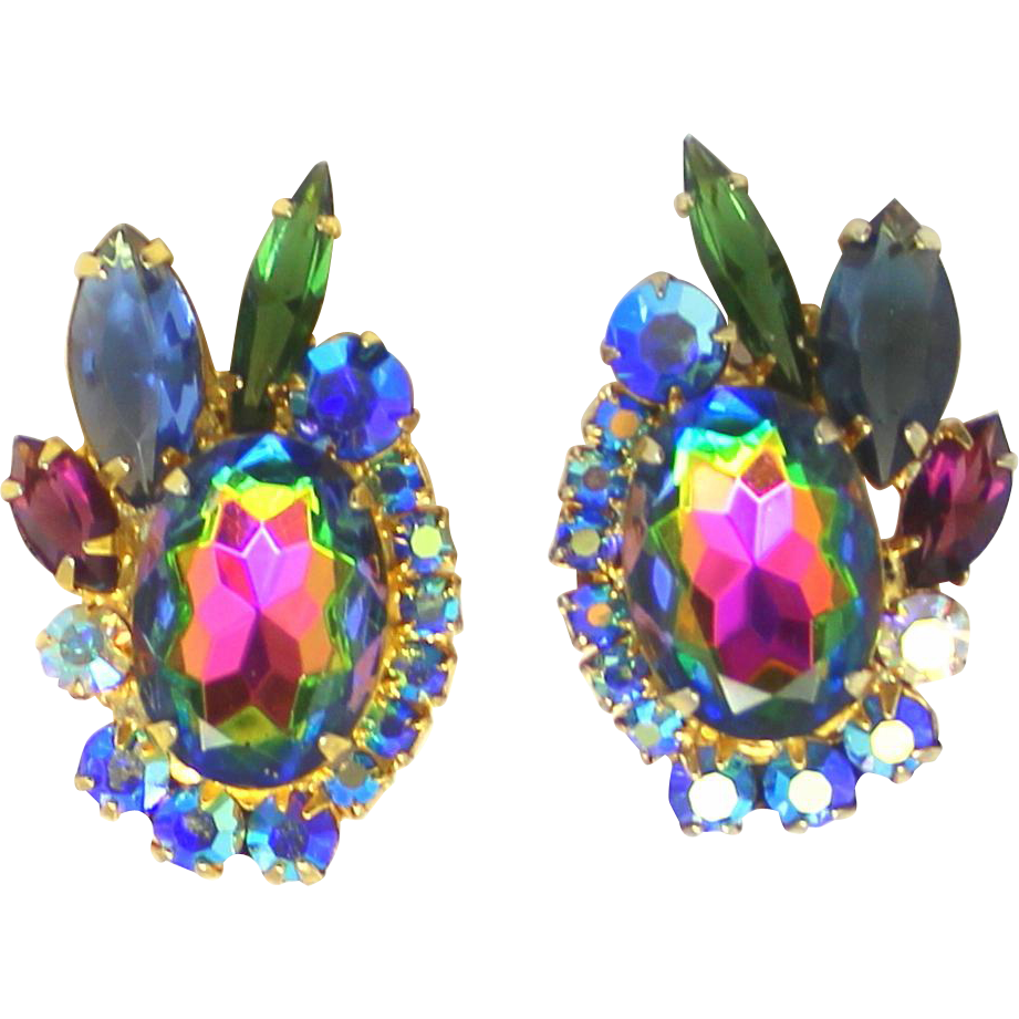 Vintage Juliana Book Piece Blue Green Watermelon Amethyst Rhinestone Earrings