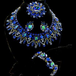 Vintage Juliana Book Piece Bermuda Blue Watermelon Rhinestone Collar Necklace, Brooch, Earrings, Bracelet Grand Parure