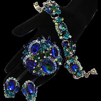 Vintage Juliana Book Piece Blue, Teal, Watermelon Rhinestone Bracelet, Brooch and Earrings Parure