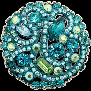 Vintage Juliana Aqua Blue Teal Peridot Enamel Rhinestone Brooch