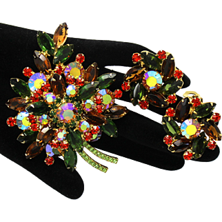 Vintage Juliana Fall Colored (Topaz, Orange, Green) Rhinestone Leaf Brooch Earrings Demi Parure