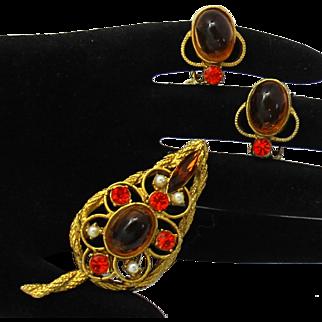 Vintage Juliana Topaz Cabochon Faux Pearl Orange Rhinestone Leaf Brooch Earrings Demi Parure