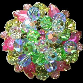 Vintage Juliana Pastel Pink Blue Yellow and Green Rhinestone Crystal Bead Cha-Cha Brooch