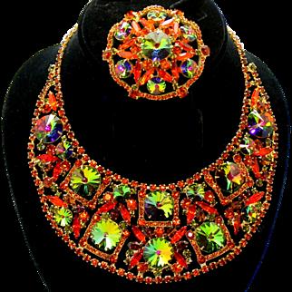 Vintage Juliana Book Piece Orange, Topaz and Watermelon Rivoli Bib Necklace and Brooch Demi Parure