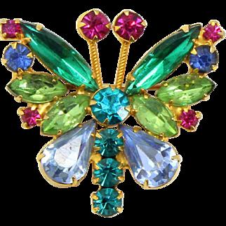 Vintage Juliana Book Piece Pastel Blue Fuchsia Pink Peridot Green Rhinestone Butterfly Brooch