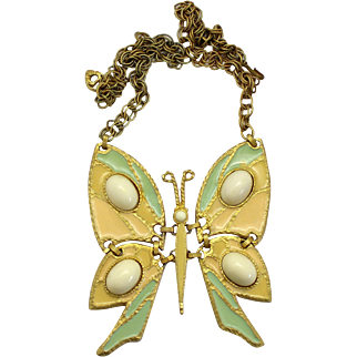 Vintage Juliana Book Piece Peach and Green Enamel and High Domed Cabochon Butterfly Necklace
