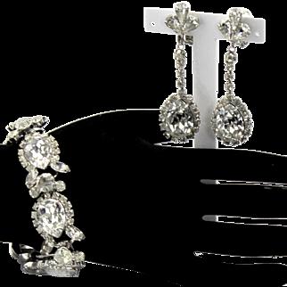 Vintage Juliana Clear Pear Shaped Rhinestone Bracelet Dangle Earrings Demi Parure