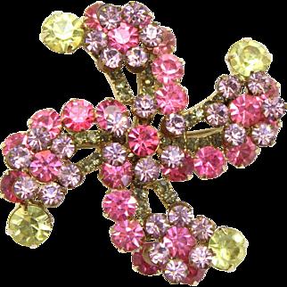 Vintage Juliana Pin Wheel Pastel Pink, Lavender,  Jonquil Yellow and Peridot Green Rhinestone Brooch