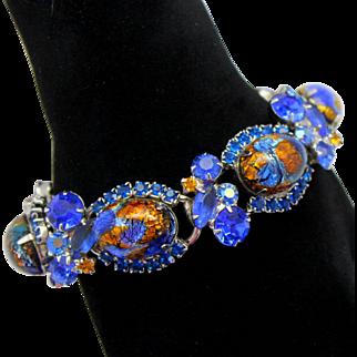 Vintage Juliana Book Piece Blue Gold Fluss Foil Cabochon topaz Rhinestone Bracelet