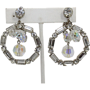 Vintage Juliana (D&E) Large Clear Rhinestone Hoop & AB Crystal Bead Earrings