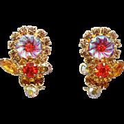 Vintage Juliana Book Piece Topaz Orange Rhinestone Flower Pillowcase Earrings
