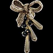 Vintage Juliana NEW FIND Black Bead, Rhinestone Bow Brooch