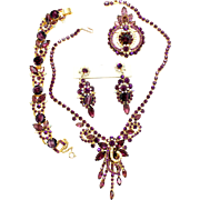 Vintage Juliana Book Piece Amethyst Givre Rhinestone Necklace Bracelet Brooch Dangle Earrings Grand Parure