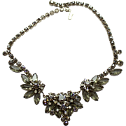 Vintage Juliana Black Diamond Gray Clear Rhinestone necklace