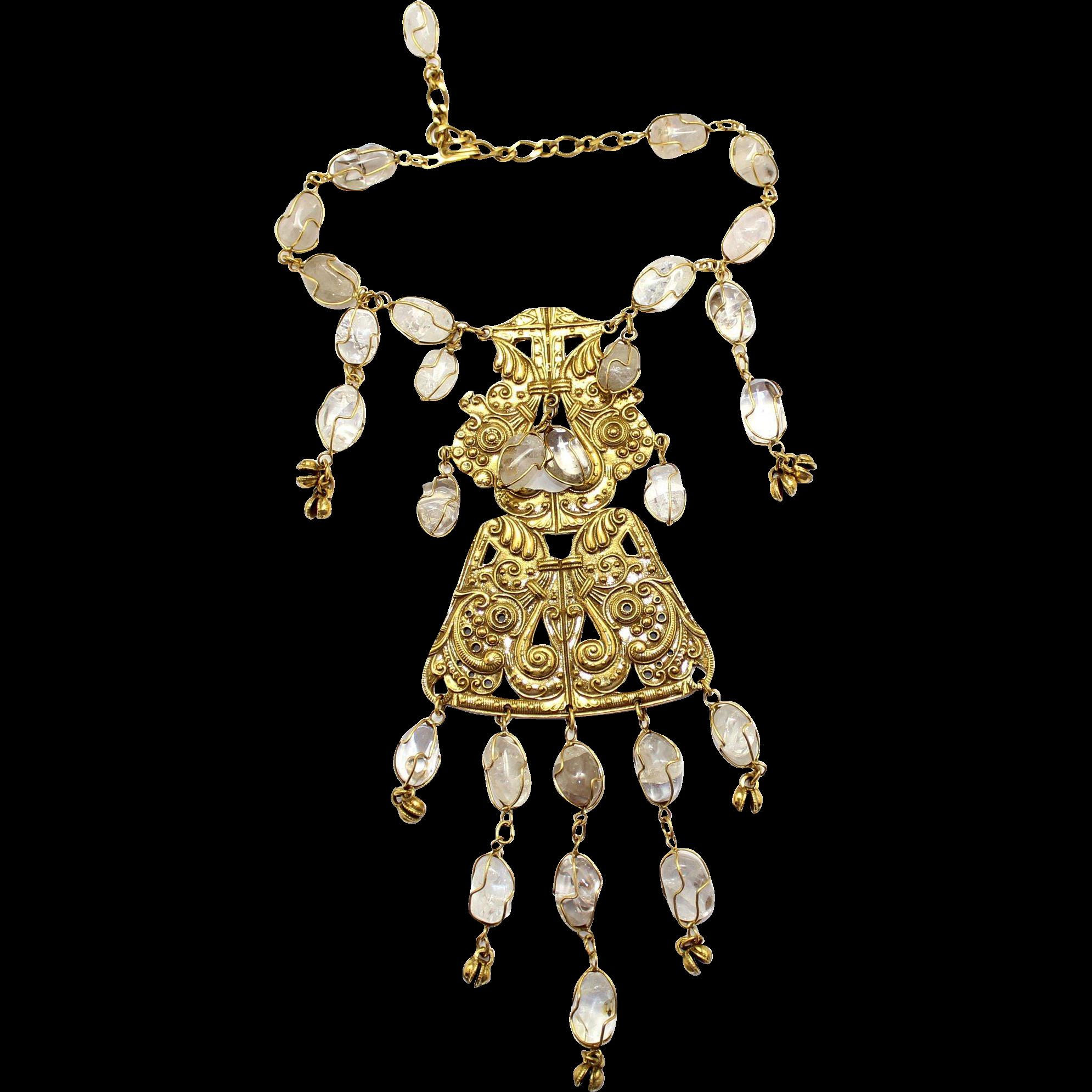 Vintage Huge Accessocraft Ethnic or Byzantine Rock Necklace