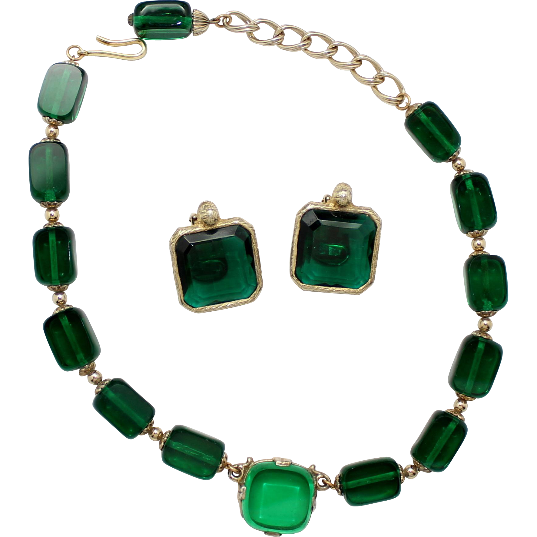 Vintage Kramer Deep Green Emerald Cut Bead Necklace and Earrings Demi Parure
