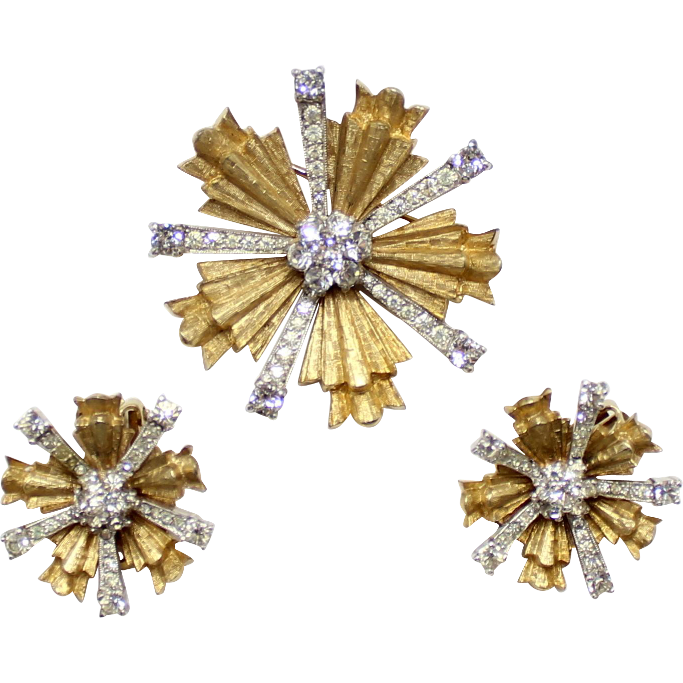 Vintage Jomaz Silver & Gold Rhinestone Snowflake Demi Parure