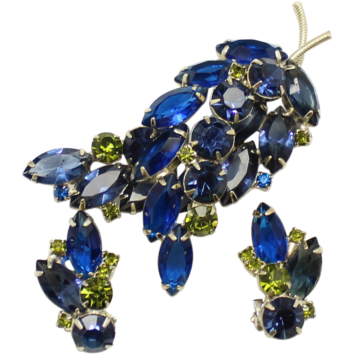 Vintage Juliana (D and E) Blue and Green Rhinestone Brooch and Earrings Demi Parure