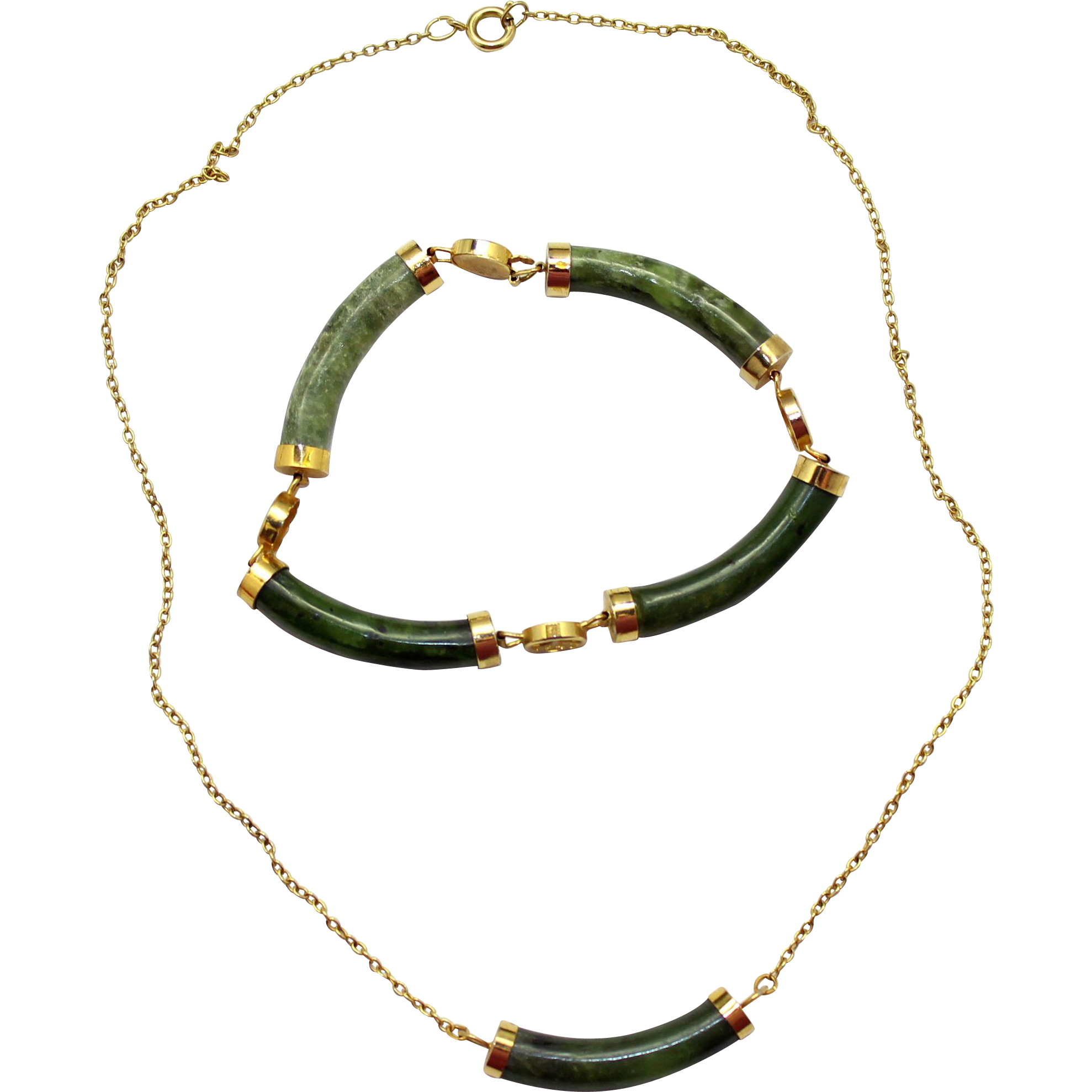 Vintage Oriental Jade Necklace and Bracelet Demi Parure