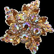 Vintage Juliana (D&E) Topaz & Black Diamond Rhinestone Star Brooch