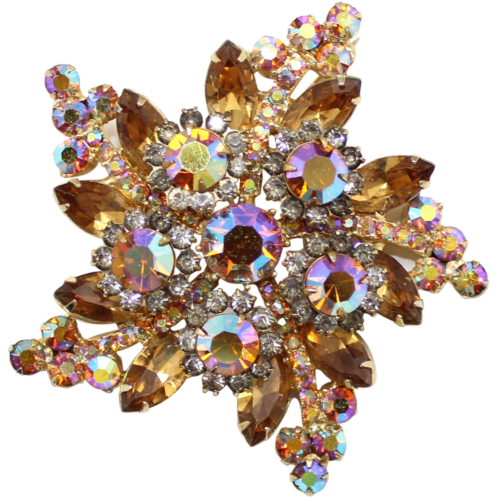 Vintage Juliana (D&E) Topaz & Black Diamond Rhinestone Star Brooch