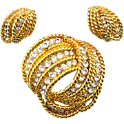 Vintage Gold Toned Twisted Metal & Clear Rhinestone Demi Parure